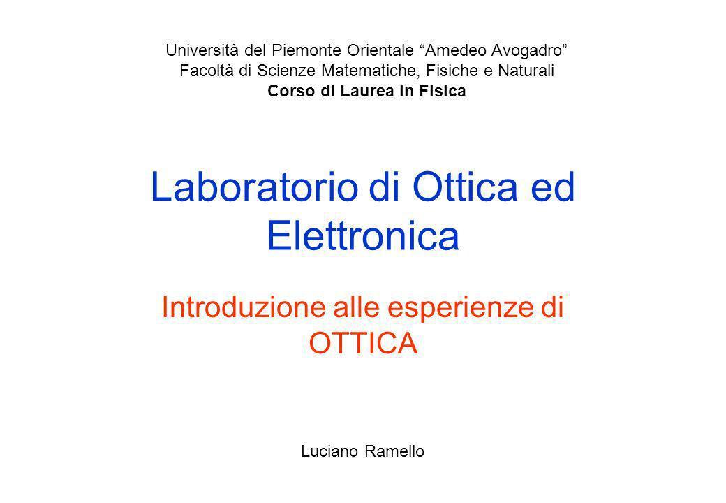 Laboratorio di Ottica ed Elettronica Introduzione alle esperienze di OTTICA Università del Piemonte Orientale Amedeo Avogadro Facoltà di Scienze Matem