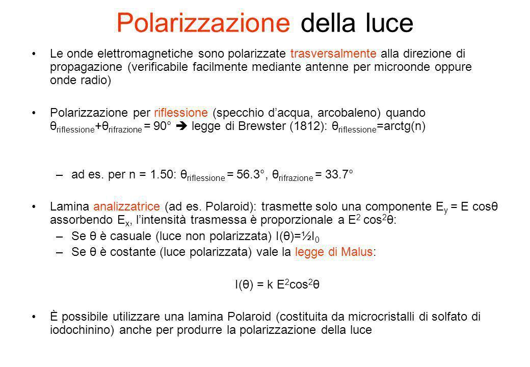 Polarizzazione della luce Le onde elettromagnetiche sono polarizzate trasversalmente alla direzione di propagazione (verificabile facilmente mediante