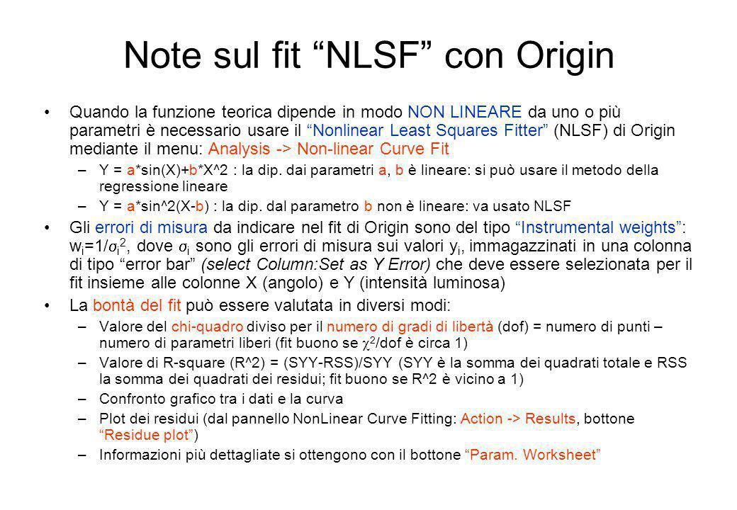 Note sul fit NLSF con Origin Quando la funzione teorica dipende in modo NON LINEARE da uno o più parametri è necessario usare il Nonlinear Least Squar