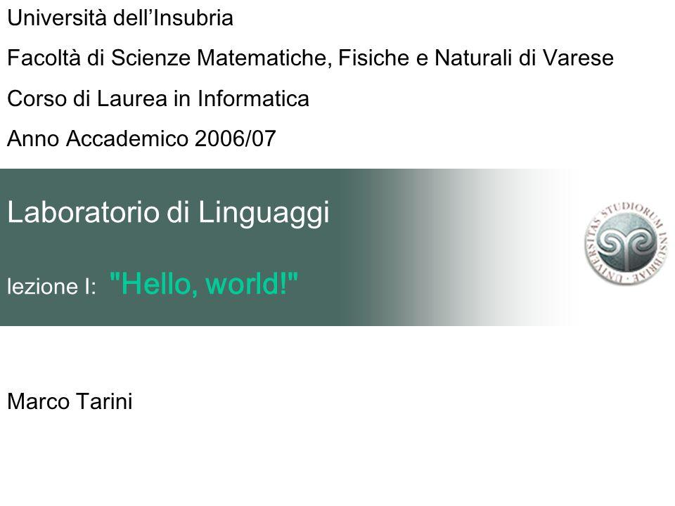 Laboratorio di Linguaggi lezione I: