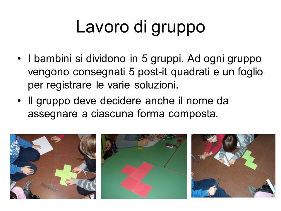 Lavoro di gruppo I bambini si dividono in 5 gruppi. Ad ogni gruppo vengono consegnati 5 post-it quadrati e un foglio per registrare le varie soluzioni