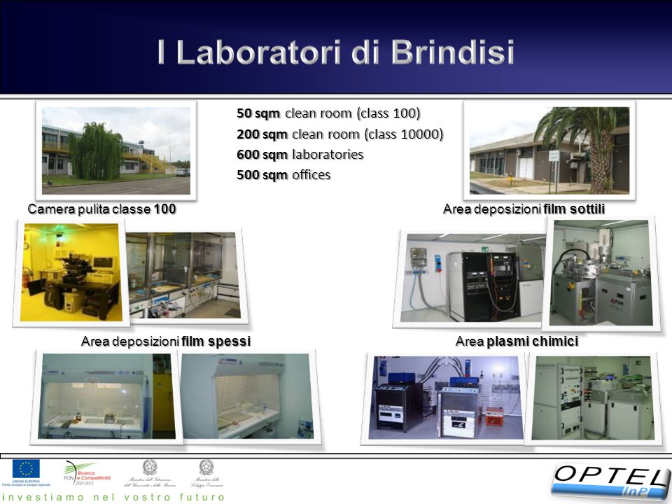 Camera pulita classe 100 Area deposizioni film sottili Area plasmi chimici Area deposizioni film spessi 50 sqm clean room (class 100) 200 sqm clean ro