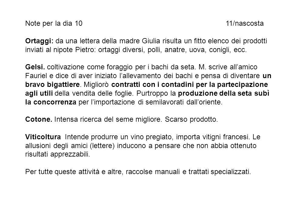 Note per la dia 1011/nascosta Ortaggi: da una lettera della madre Giulia risulta un fitto elenco dei prodotti inviati al nipote Pietro: ortaggi divers