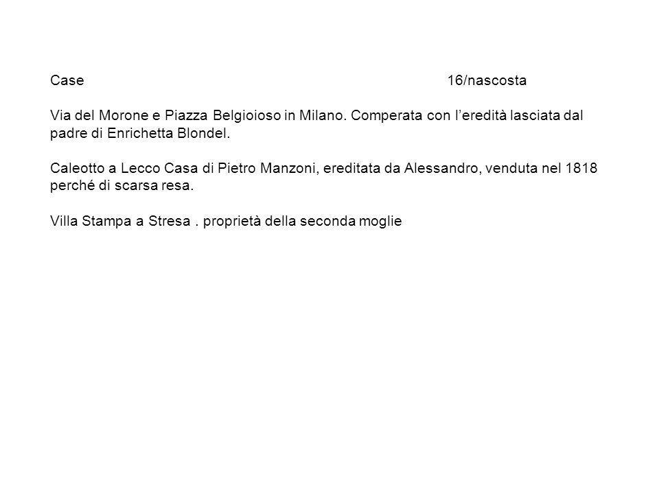 Case 16/nascosta Via del Morone e Piazza Belgioioso in Milano. Comperata con leredità lasciata dal padre di Enrichetta Blondel. Caleotto a Lecco Casa