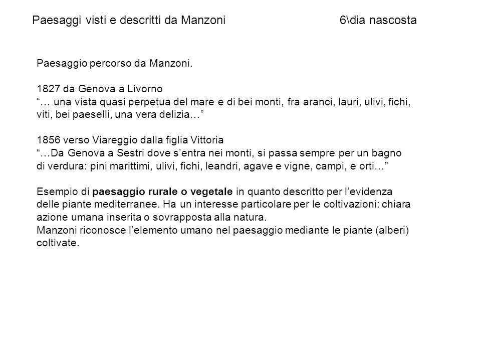Paesaggio percorso da Manzoni. 1827 da Genova a Livorno … una vista quasi perpetua del mare e di bei monti, fra aranci, lauri, ulivi, fichi, viti, bei
