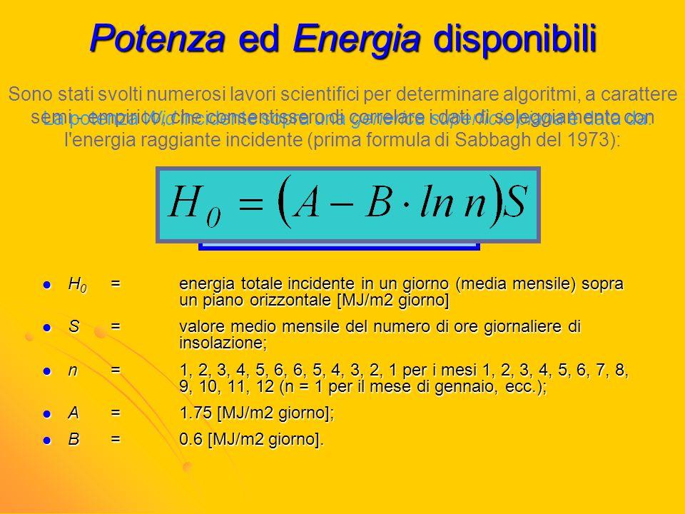 Potenza ed Energia disponibili La potenza Wid incidente sopra una generica superficie piana è data da: Sono stati svolti numerosi lavori scientifici p