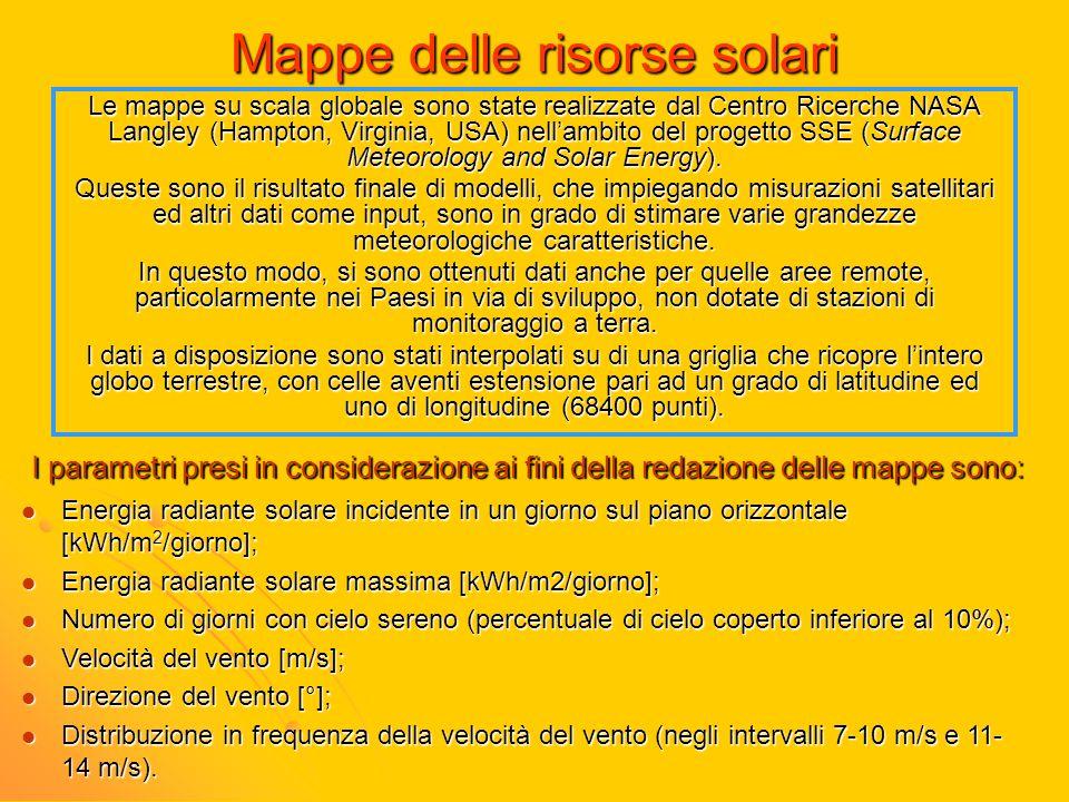 Mappe delle risorse solari Le mappe su scala globale sono state realizzate dal Centro Ricerche NASA Langley (Hampton, Virginia, USA) nellambito del pr