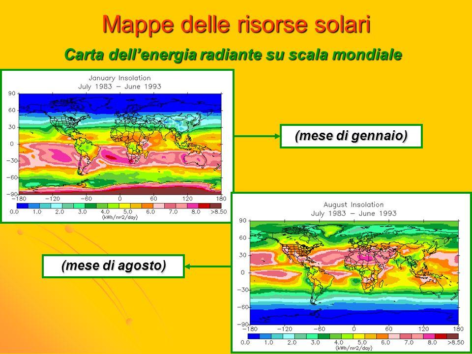 Mappe delle risorse solari Carta dellenergia radiante su scala mondiale (mese di gennaio) (mese di agosto)