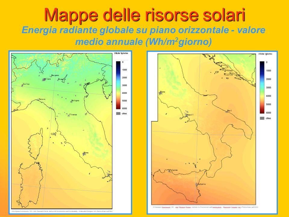 Mappe delle risorse solari Energia radiante globale su piano orizzontale - valore medio annuale (Wh/m 2 giorno)