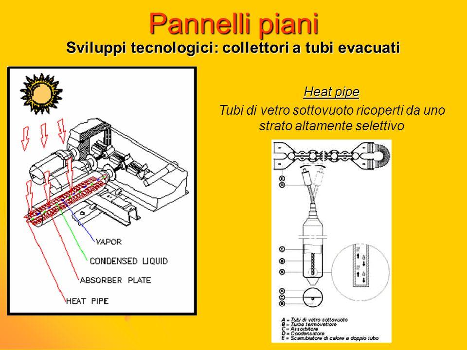 Pannelli piani Sviluppi tecnologici: collettori a tubi evacuati Heat pipe Tubi di vetro sottovuoto ricoperti da uno strato altamente selettivo