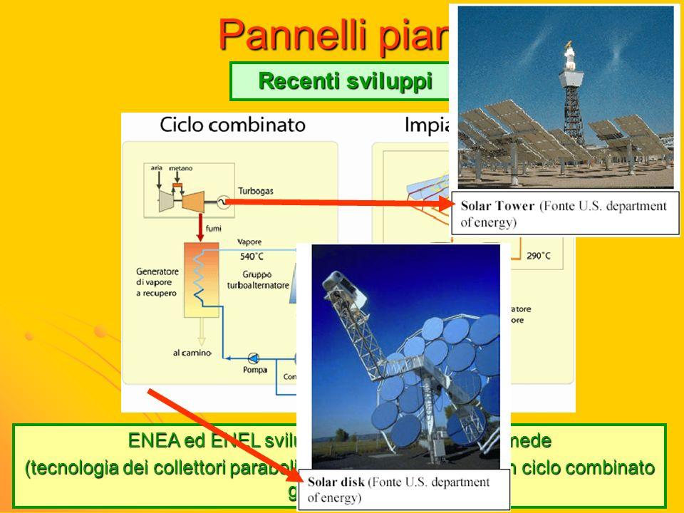 Pannelli piani Recenti sviluppi ENEA ed ENEL sviluppando il progetto Archimede (tecnologia dei collettori parabolico lineari accoppiati ad un ciclo co