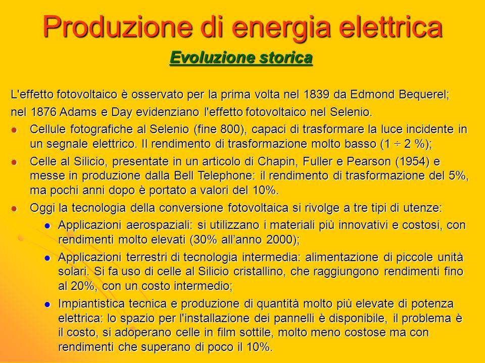 Produzione di energia elettrica Evoluzione storica L'effetto fotovoltaico è osservato per la prima volta nel 1839 da Edmond Bequerel; nel 1876 Adams e