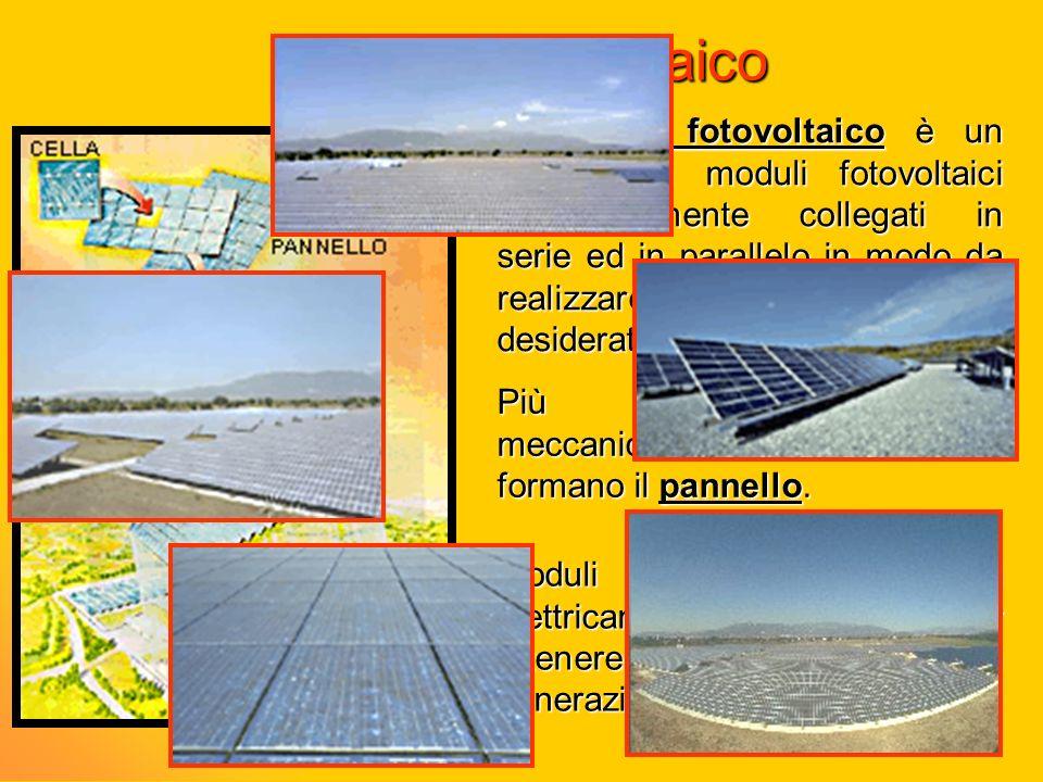 Campo fotovoltaico Il campo fotovoltaico è un insieme di moduli fotovoltaici opportunamente collegati in serie ed in parallelo in modo da realizzare l