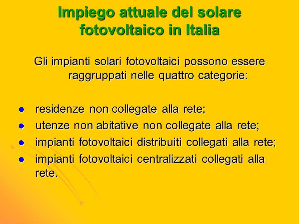 Impiego attuale del solare fotovoltaico in Italia Gli impianti solari fotovoltaici possono essere raggruppati nelle quattro categorie: residenze non c