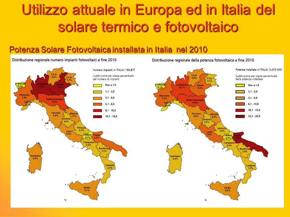 Utilizzo attuale in Europa ed in Italia del solare termico e fotovoltaico Potenza Solare Fotovoltaica installata in Italia nel 2010
