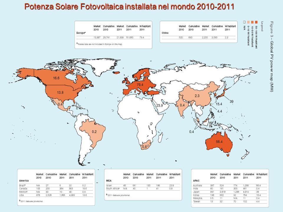 Potenza Solare Fotovoltaica installata nel mondo 2010-2011