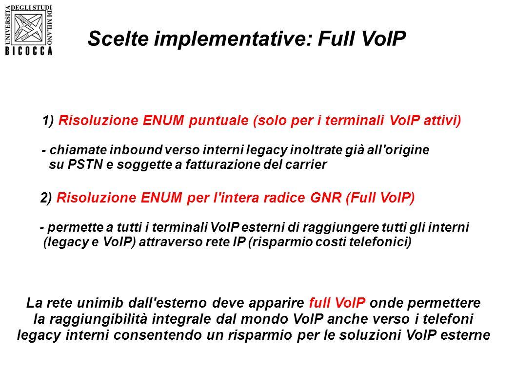 La rete unimib dall'esterno deve apparire full VoIP onde permettere la raggiungibilità integrale dal mondo VoIP anche verso i telefoni legacy interni