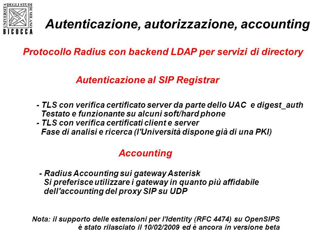 Autenticazione al SIP Registrar Nota: il supporto delle estensioni per l'Identity (RFC 4474) su OpenSIPS è stato rilasciato il 10/02/2009 ed è ancora