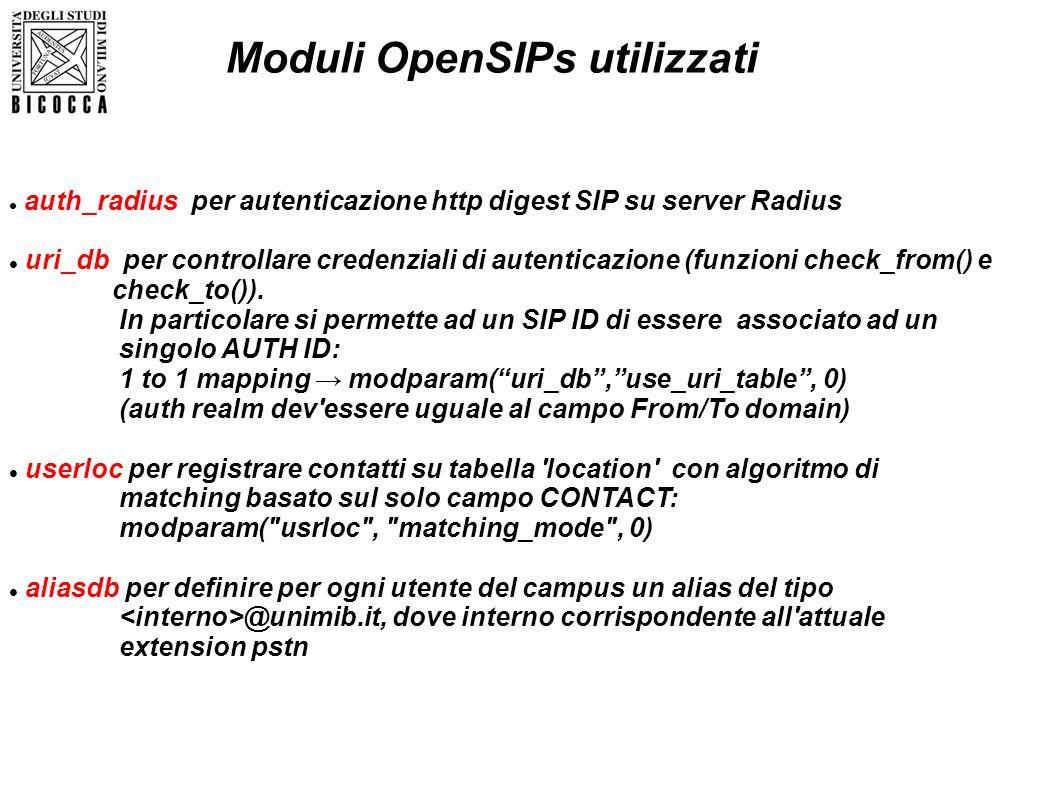 auth_radius per autenticazione http digest SIP su server Radius uri_db per controllare credenziali di autenticazione (funzioni check_from() e check_to