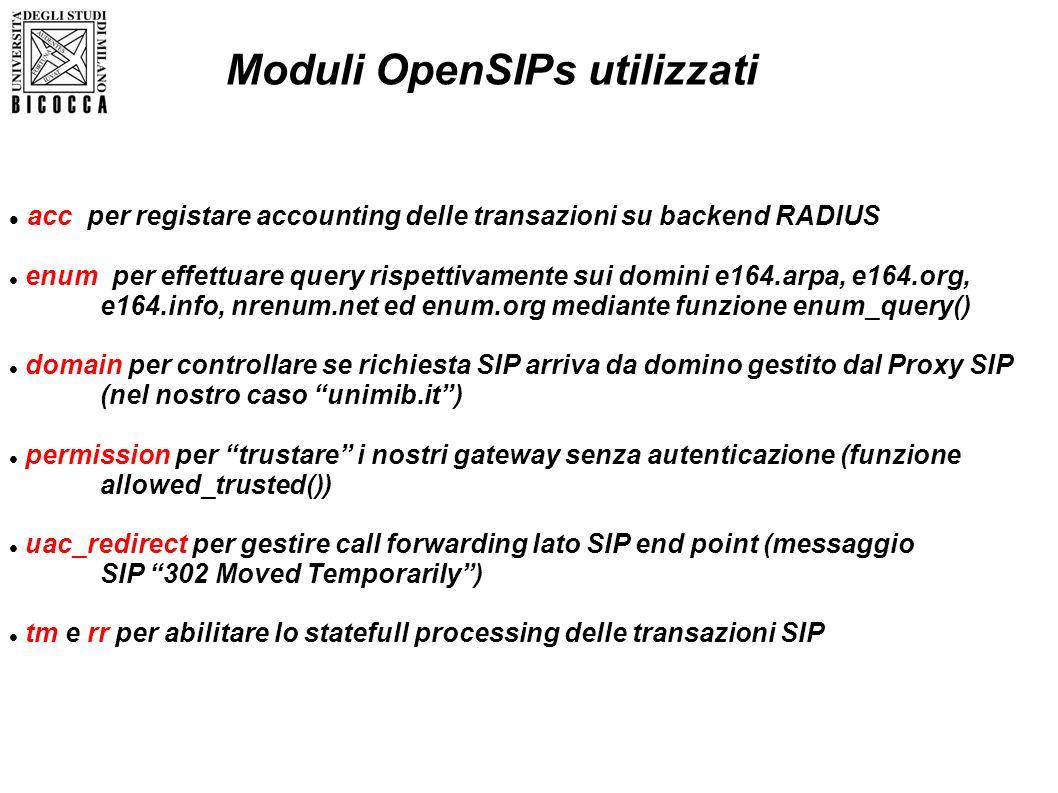 acc per registare accounting delle transazioni su backend RADIUS enum per effettuare query rispettivamente sui domini e164.arpa, e164.org, e164.info,