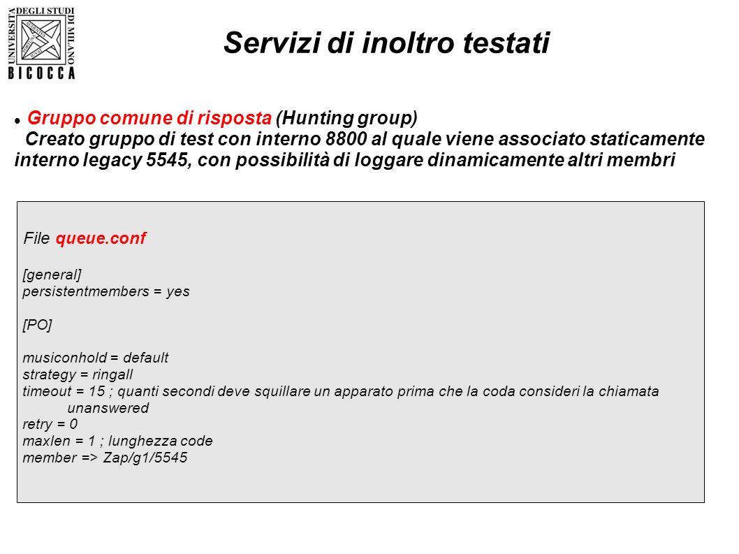 Gruppo comune di risposta (Hunting group) Creato gruppo di test con interno 8800 al quale viene associato staticamente interno legacy 5545, con possib