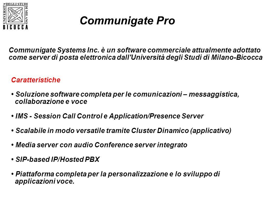 Caratteristiche Soluzione software completa per le comunicazioni – messaggistica, collaborazione e voce IMS - Session Call Control e Application/Prese