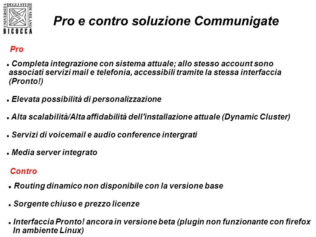 Pro e contro soluzione Communigate Routing dinamico non disponibile con la versione base Sorgente chiuso e prezzo licenze Interfaccia Pronto! ancora i