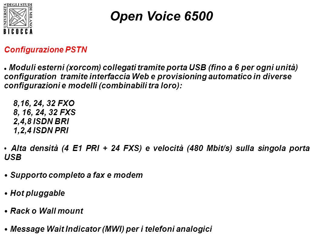Open Voice 6500 Configurazione PSTN Moduli esterni (xorcom) collegati tramite porta USB (fino a 6 per ogni unità) configuration tramite interfaccia We