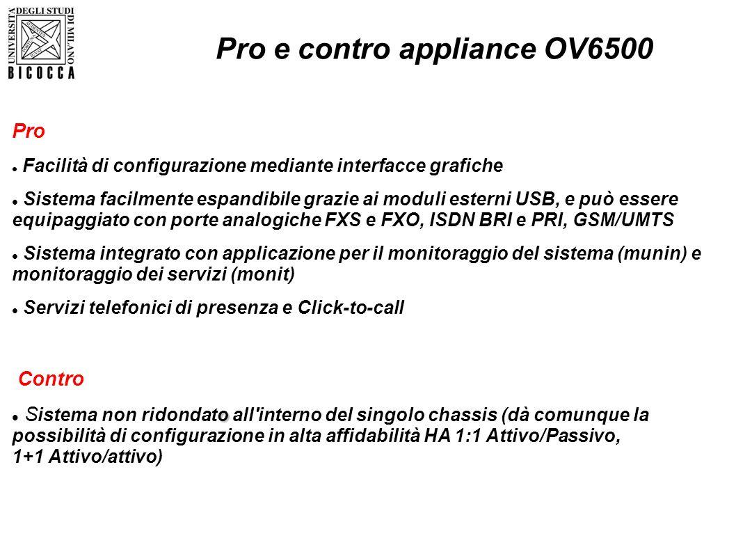 Pro e contro appliance OV6500 Pro Facilità di configurazione mediante interfacce grafiche Sistema facilmente espandibile grazie ai moduli esterni USB,