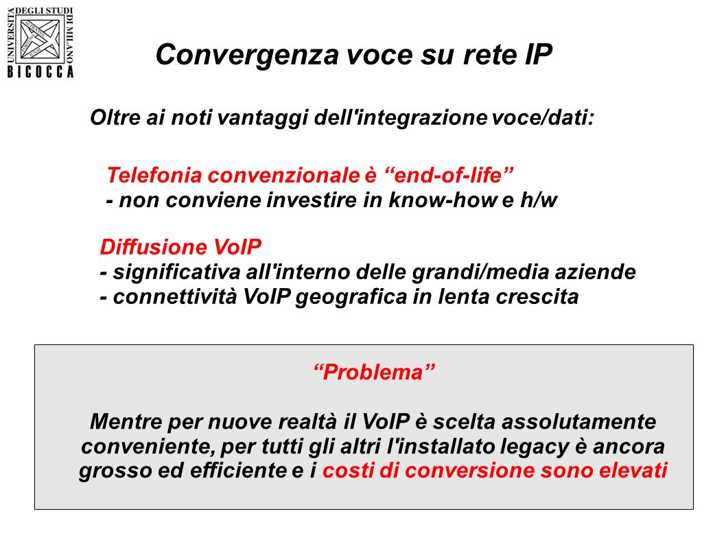 Convergenza voce su rete IP Telefonia convenzionale è end-of-life - non conviene investire in know-how e h/w Diffusione VoIP - significativa all'inter