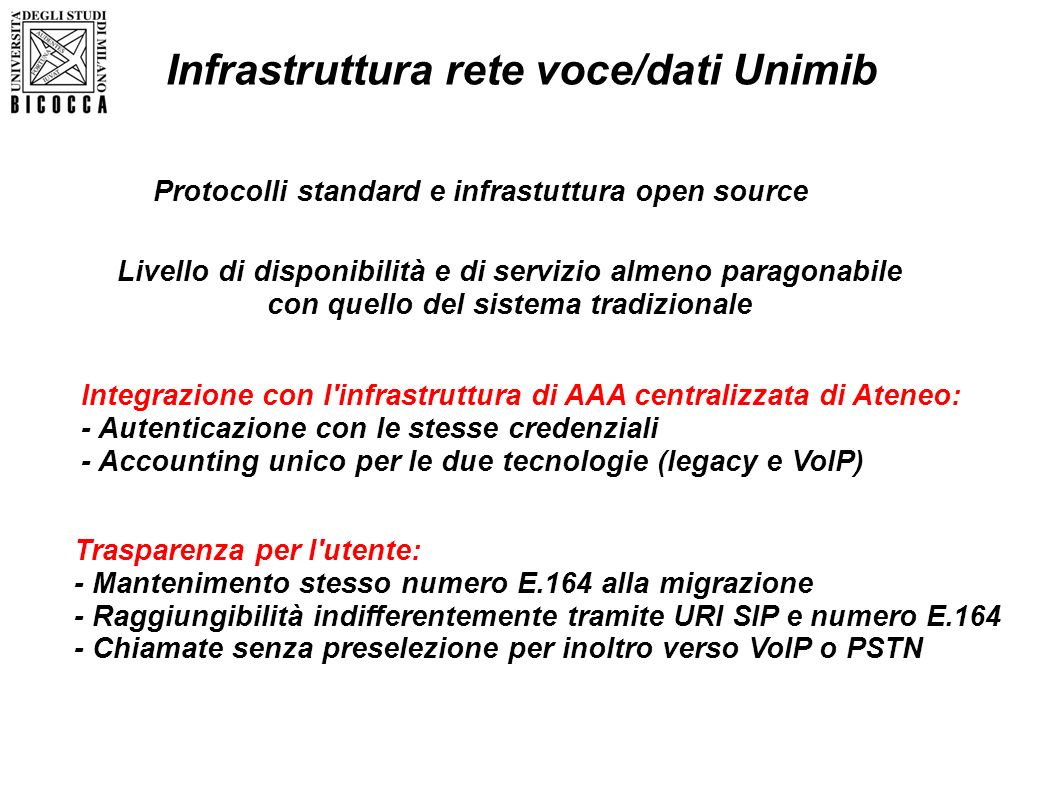 Infrastruttura rete voce/dati Unimib Protocolli standard e infrastuttura open source Livello di disponibilità e di servizio almeno paragonabile con qu