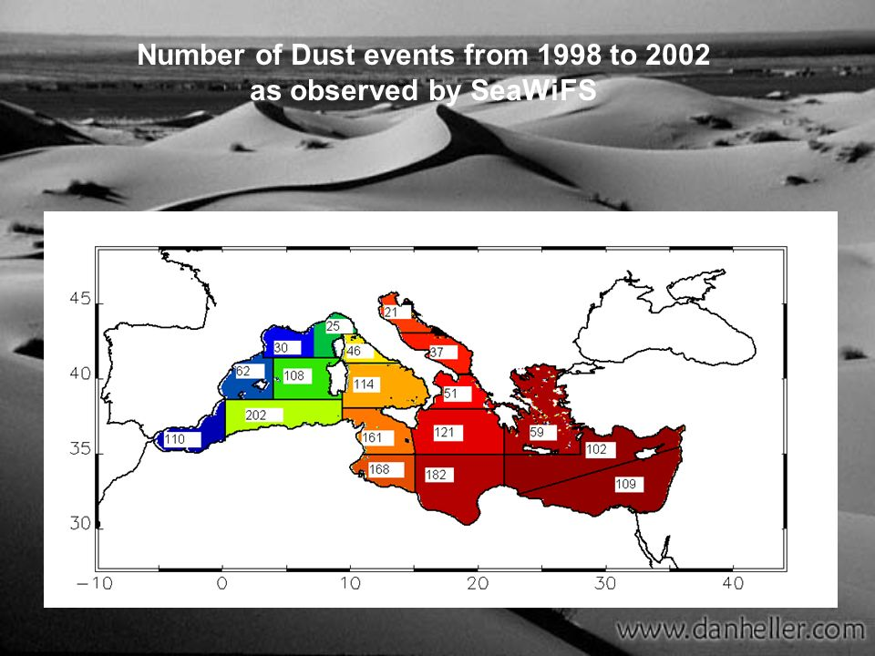 Number of Dust events from 1998 to 2002 as observed by SeaWiFS