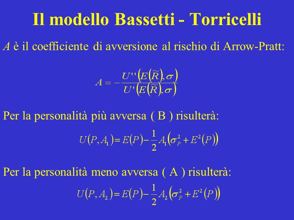 Il modello Bassetti - Torricelli A è il coefficiente di avversione al rischio di Arrow-Pratt: Per la personalità più avversa ( B ) risulterà: Per la personalità meno avversa ( A ) risulterà: