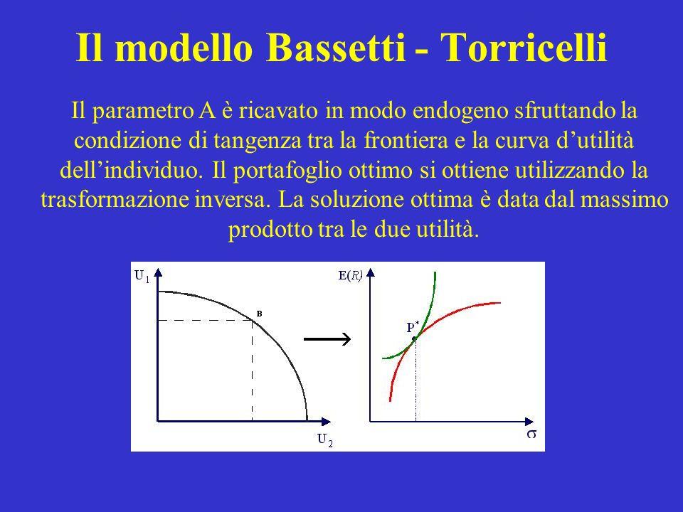 Il modello Bassetti - Torricelli Il parametro A è ricavato in modo endogeno sfruttando la condizione di tangenza tra la frontiera e la curva dutilità dellindividuo.
