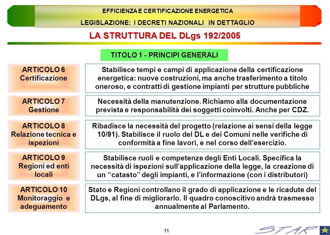 LA STRUTTURA DEL DLgs 192/2005 11 EFFICIENZA E CERTIFICAZIONE ENERGETICA LEGISLAZIONE: I DECRETI NAZIONALI IN DETTAGLIO TITOLO 1 - PRINCIPI GENERALI S
