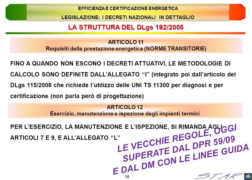 LA STRUTTURA DEL DLgs 192/2005 16 EFFICIENZA E CERTIFICAZIONE ENERGETICA LEGISLAZIONE: I DECRETI NAZIONALI IN DETTAGLIO ARTICOLO 11 Requisiti della pr