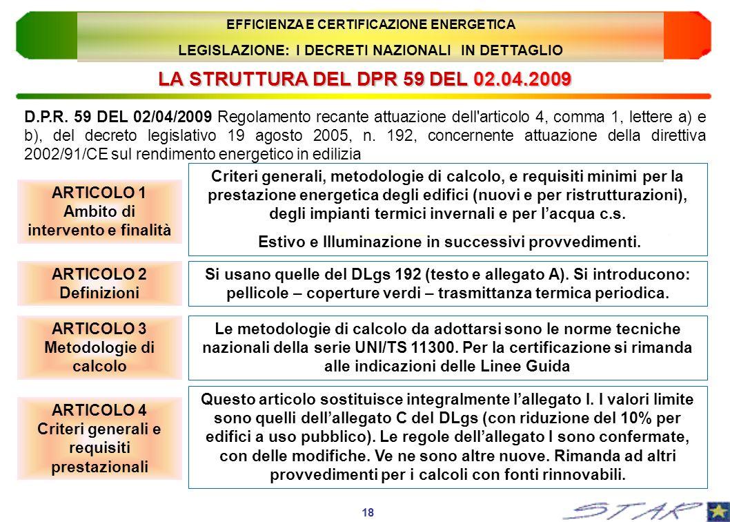 LA STRUTTURA DEL DPR 59 DEL 02.04.2009 ARTICOLO 1 Ambito di intervento e finalità 18 EFFICIENZA E CERTIFICAZIONE ENERGETICA LEGISLAZIONE: I DECRETI NA
