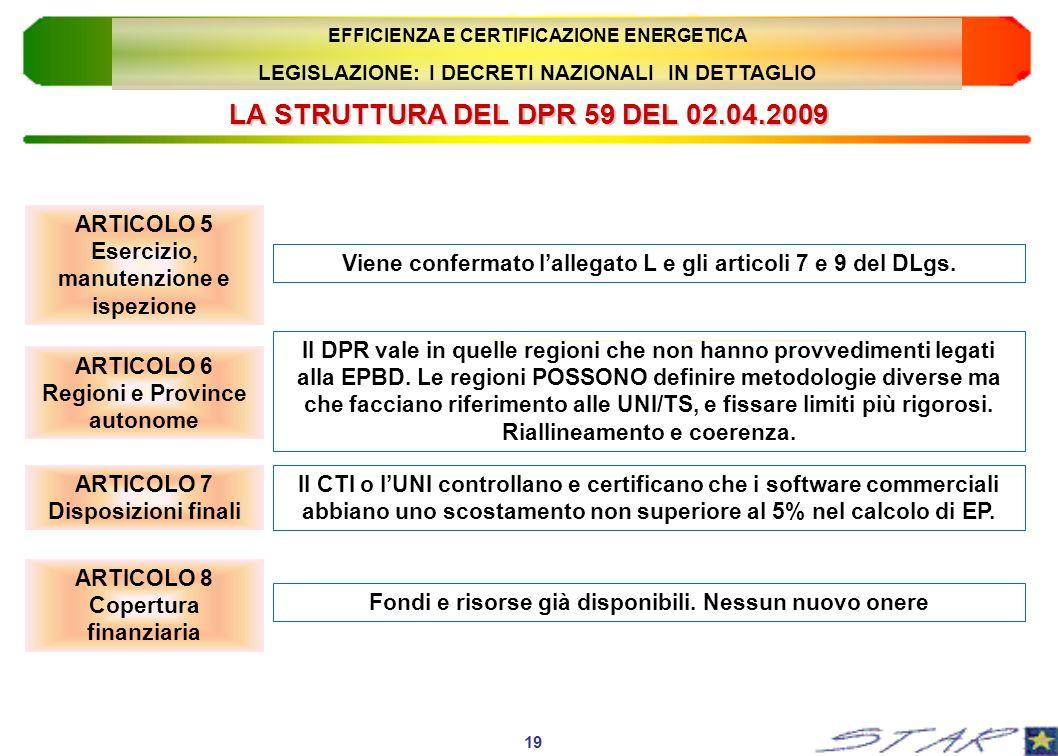 LA STRUTTURA DEL DPR 59 DEL 02.04.2009 ARTICOLO 5 Esercizio, manutenzione e ispezione 19 EFFICIENZA E CERTIFICAZIONE ENERGETICA LEGISLAZIONE: I DECRET