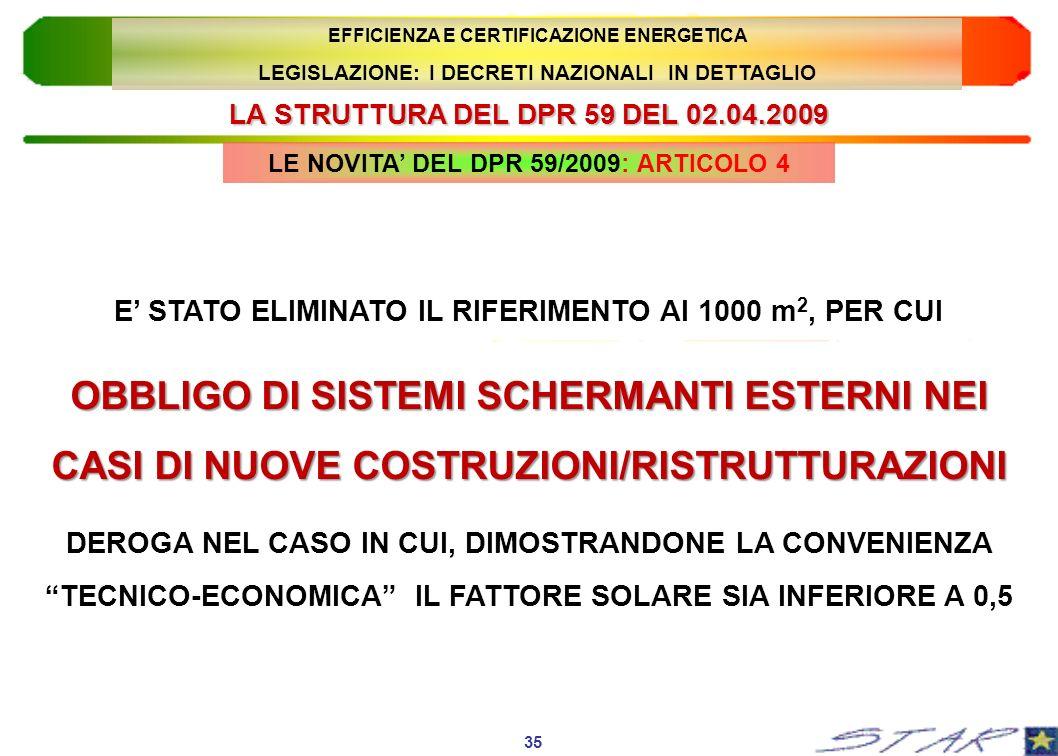 LA STRUTTURA DEL DPR 59 DEL 02.04.2009 35 EFFICIENZA E CERTIFICAZIONE ENERGETICA LEGISLAZIONE: I DECRETI NAZIONALI IN DETTAGLIO E STATO ELIMINATO IL R