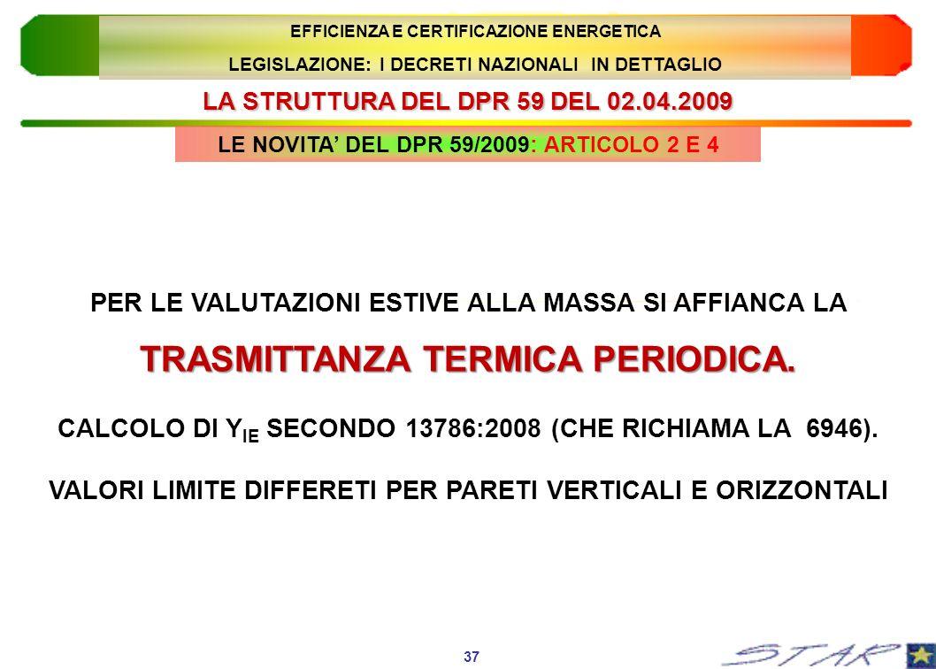 LA STRUTTURA DEL DPR 59 DEL 02.04.2009 37 EFFICIENZA E CERTIFICAZIONE ENERGETICA LEGISLAZIONE: I DECRETI NAZIONALI IN DETTAGLIO TRASMITTANZA TERMICA P