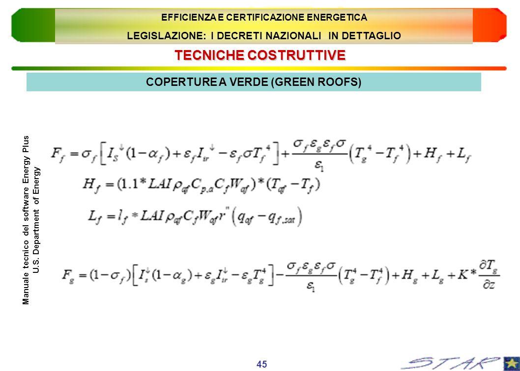 TECNICHECOSTRUTTIVE TECNICHE COSTRUTTIVE 45 COPERTURE A VERDE (GREEN ROOFS) Manuale tecnico del software Energy Plus U.S. Department of Energy EFFICIE