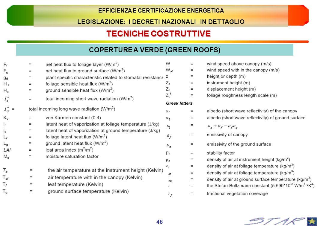 TECNICHECOSTRUTTIVE TECNICHE COSTRUTTIVE 46 COPERTURE A VERDE (GREEN ROOFS) EFFICIENZA E CERTIFICAZIONE ENERGETICA LEGISLAZIONE: I DECRETI NAZIONALI I