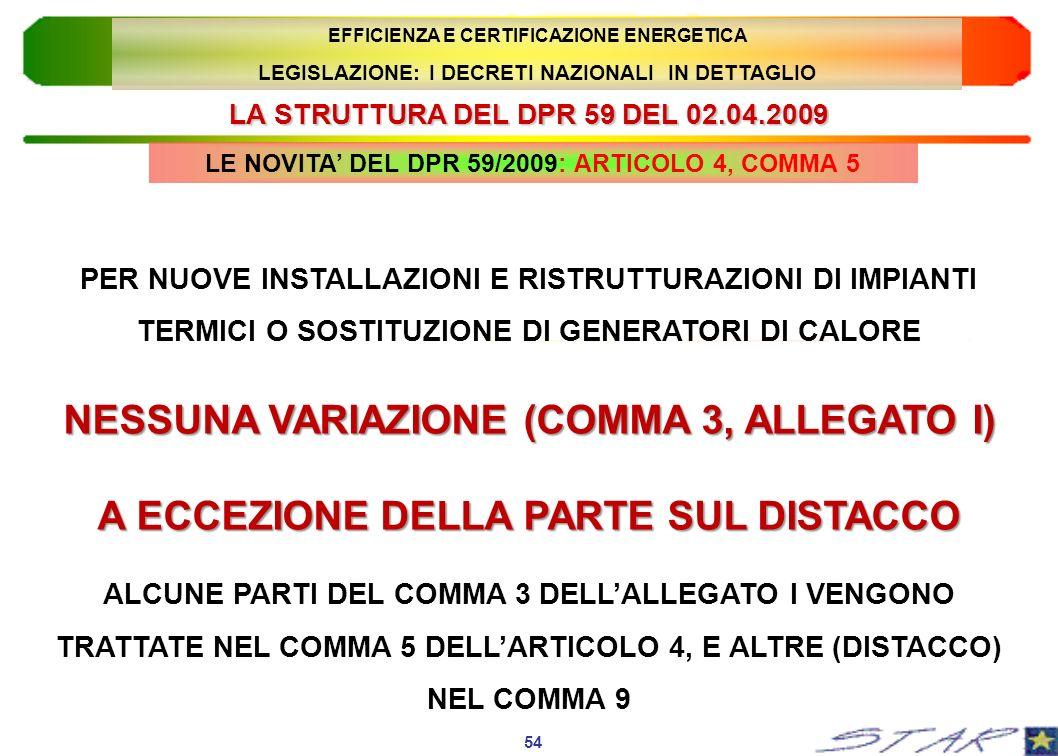 LA STRUTTURA DEL DPR 59 DEL 02.04.2009 54 EFFICIENZA E CERTIFICAZIONE ENERGETICA LEGISLAZIONE: I DECRETI NAZIONALI IN DETTAGLIO PER NUOVE INSTALLAZION