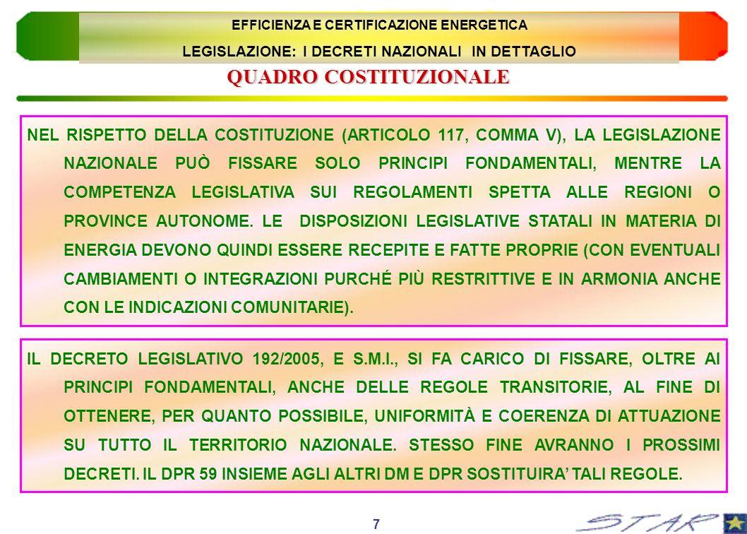 NEL RISPETTO DELLA COSTITUZIONE (ARTICOLO 117, COMMA V), LA LEGISLAZIONE NAZIONALE PUÒ FISSARE SOLO PRINCIPI FONDAMENTALI, MENTRE LA COMPETENZA LEGISL