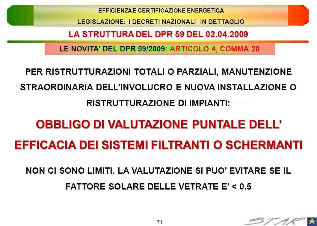 LA STRUTTURA DEL DPR 59 DEL 02.04.2009 LE NOVITA DEL DPR 59/2009: ARTICOLO 4, COMMA 20 71 EFFICIENZA E CERTIFICAZIONE ENERGETICA LEGISLAZIONE: I DECRE