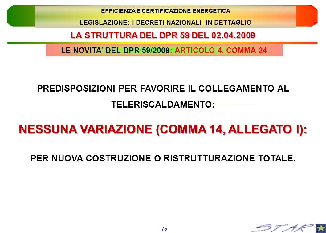LA STRUTTURA DEL DPR 59 DEL 02.04.2009 LE NOVITA DEL DPR 59/2009: ARTICOLO 4, COMMA 24 75 EFFICIENZA E CERTIFICAZIONE ENERGETICA LEGISLAZIONE: I DECRE