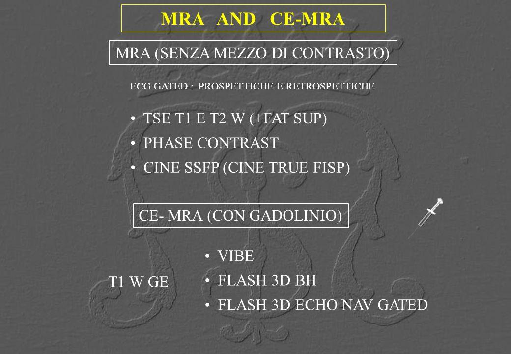 MRA AND CE-MRA ECG GATED : PROSPETTICHE E RETROSPETTICHE MRA (SENZA MEZZO DI CONTRASTO) CE- MRA (CON GADOLINIO) T1 W GE VIBE FLASH 3D BH FLASH 3D ECHO