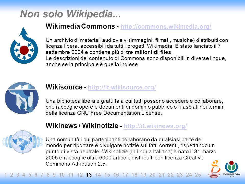 1 2 3 4 5 6 7 8 9 10 11 12 13 14 15 16 17 18 19 20 21 22 23 24 25 Non solo Wikipedia... Wikimedia Commons - http://commons.wikimedia.org/ http://commo