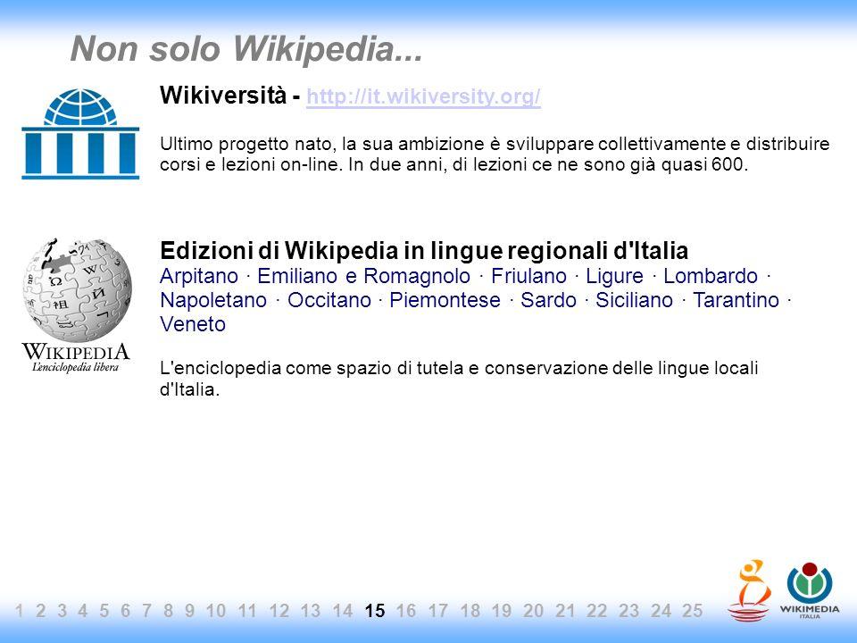 1 2 3 4 5 6 7 8 9 10 11 12 13 14 15 16 17 18 19 20 21 22 23 24 25 Non solo Wikipedia... Wikiversità - http://it.wikiversity.org/ http://it.wikiversity