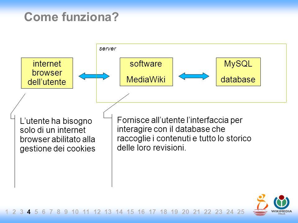 Come funziona? MySQL database software MediaWiki internet browser dellutente Fornisce allutente linterfaccia per interagire con il database che raccog